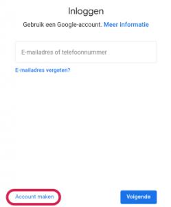 Google Account toevoegen Android